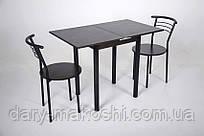Кухонный комплект Тавол Компакт 60см х 50см ножки черный металл (Стол раскладной + 2 стула) Венге