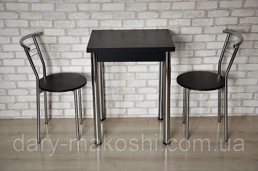 Кухонный комплект Тавол Компакт 60см х 50см ножки металл хром (Стол раскладной + 2 стула) Черный