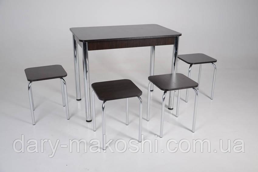 Кухонный комплект Тавол Классик (стол+4 табурета) 93х60х75 ноги металл хром Венге