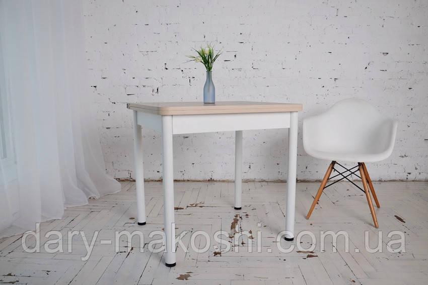 Стол обеденный раскладной Тавол Гранди  ноги металлические белые 70 см х 80 см х 75 см Ясень