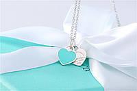 Серебряный кулон Mini Double Heart Tag Pendant Tiffany & Co, фото 1