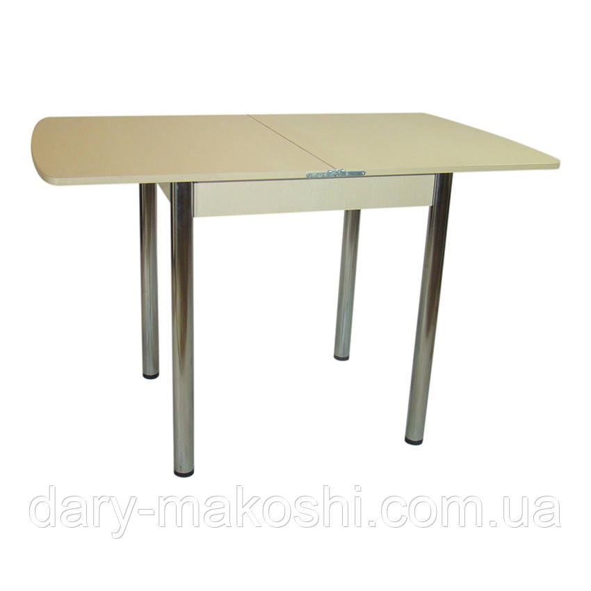 Стол раскладной Тавол Овале 60 см х 70 см х 75 см овальный ноги металл хром Молочный