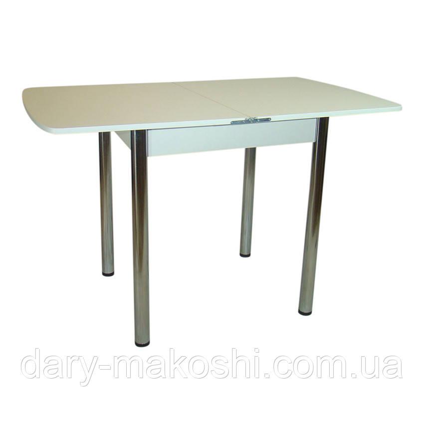 Стол раскладной Тавол Овале 60 см х 70 см х 75 см овальный ноги металл хром Белый