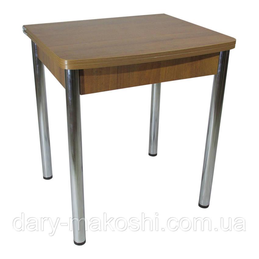 Стол раскладной Тавол Овале 60 см х 70 см х 75 см овальный ноги металл хром Орех