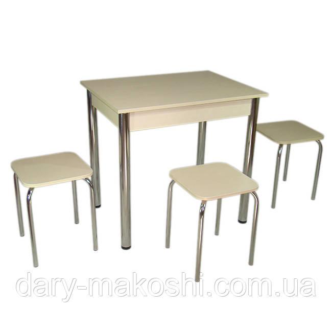Стол Тавол Ретта не раскладной + 3 табурета 80х60х75 металл хром Молочный