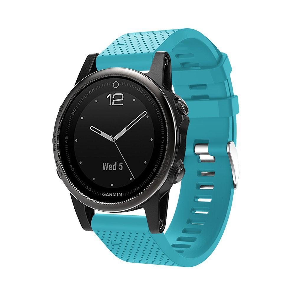 Силиконовый ремешок для часов Garmin Fenix 5S, Fenix 5S Plus.  голубойсиликон CC1771-20