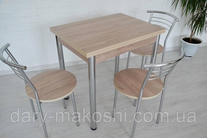 Кухонный комплект стол Тавол Ретта раскладной 80смх60 (120смх80см)+ 3 стула Ясень