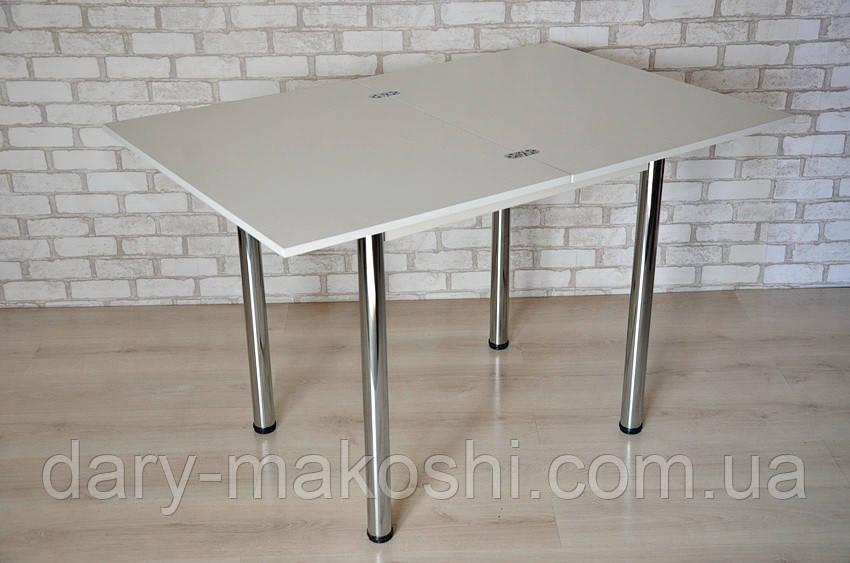 Стіл Тавол Ретта розкладний 80 см х 60 см (120см х 80см) з металевими хромованими ногами Білий