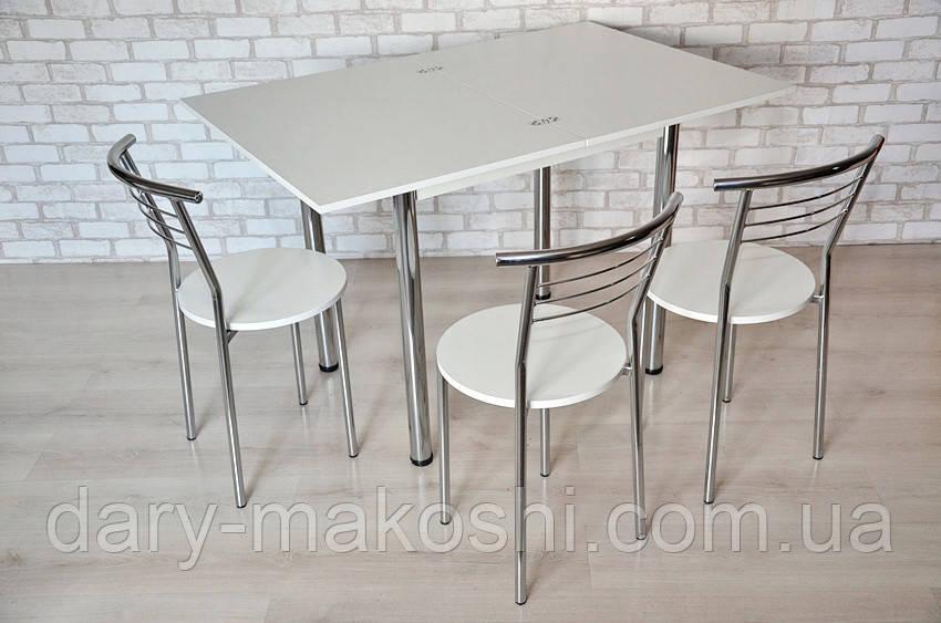 Кухонный комплект стол Тавол Ретта раскладной + 3 стула Белый