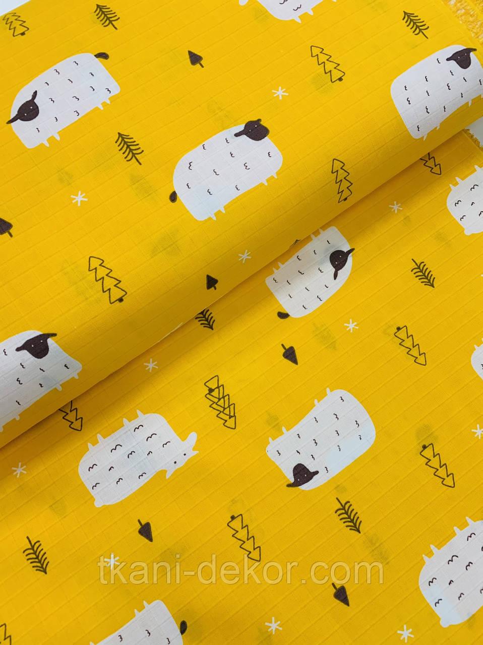 Муслин (хлопковая ткань) овечки на желтом (ширина 1,55 м)