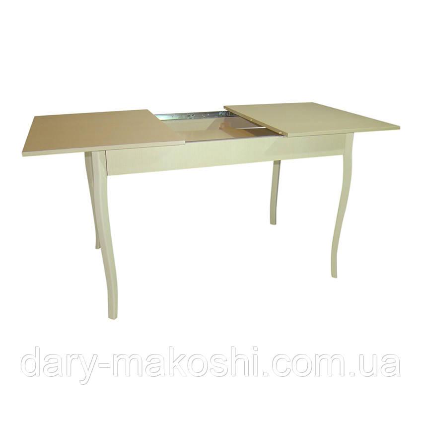 Стол раздвижной Тавол Скор 115 см х 75 см х 75 см ноги фигурные деревянные Молочный