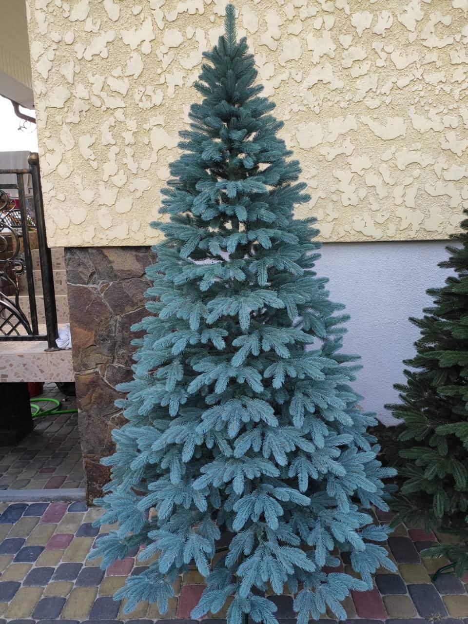 """Елка """"Премиум""""  искусственная литая голубая, пышная густая, 210 см, с подставкой, в коробке"""