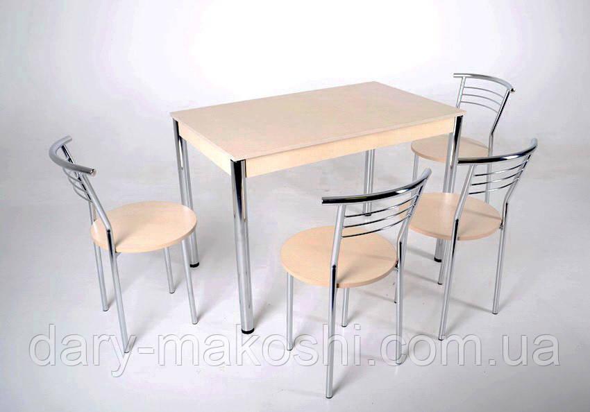 Комплект Тавол Видрис Б (Стол+4 стула) 110смх65смх75см металл хром Молочный