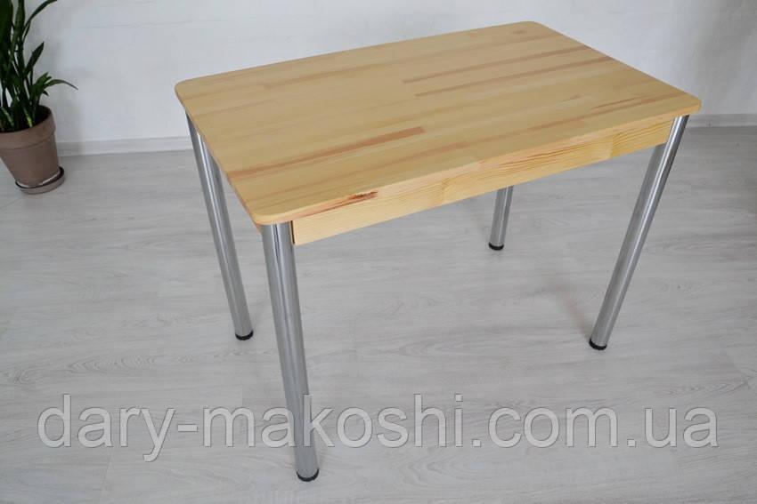 Стол из натурального дерева Тавол Легно с металлическими хромированными ногами 100смх60смх75см Натуральный