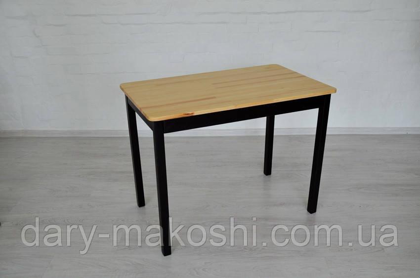 Стіл з натурального дерева Тавол Легно з прямими ногами 100смх60смх75см Натуральний/Чорний