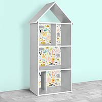 Полочка домик 2020-7-1 детский шкафчик стеллаж домик для книг и игрушек для мальчика девочки Зверюшки