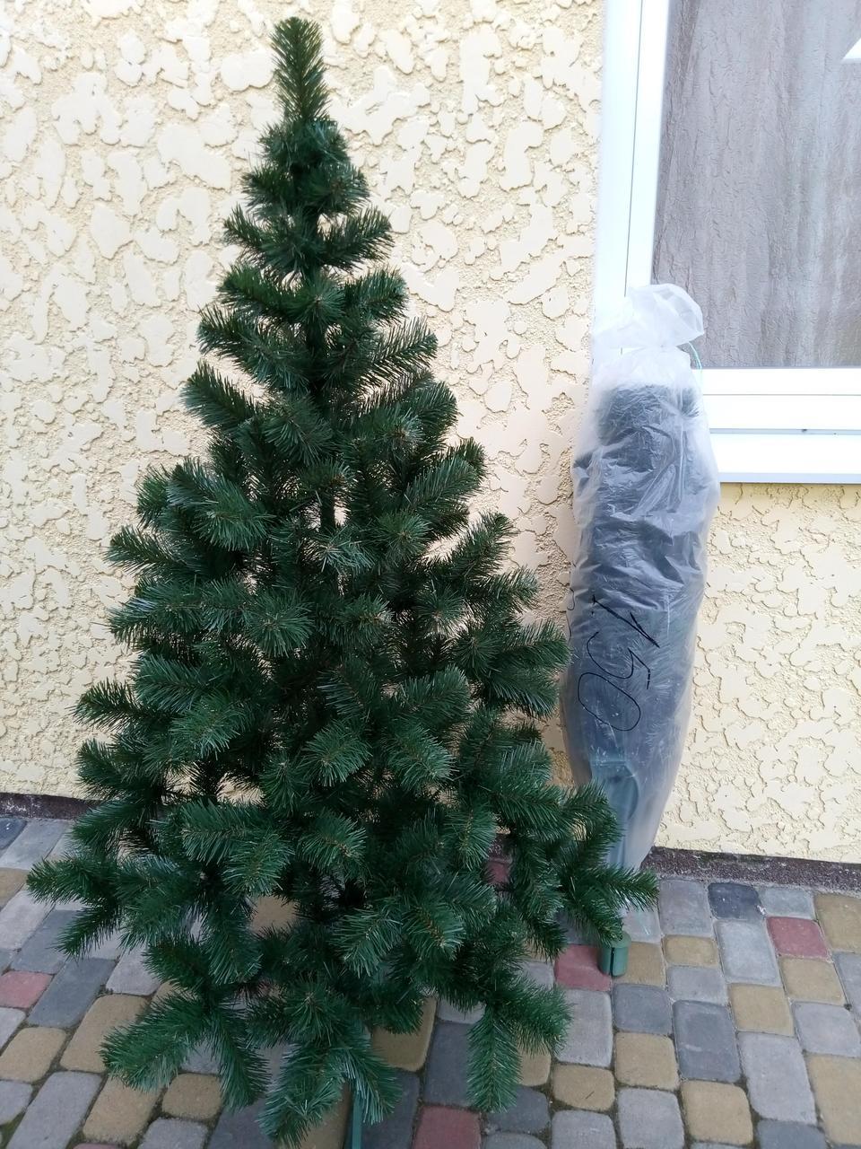 """Елка, ель искусственная зеленая """"Карпатская"""", на Новый год, с подставкой, 130 см"""
