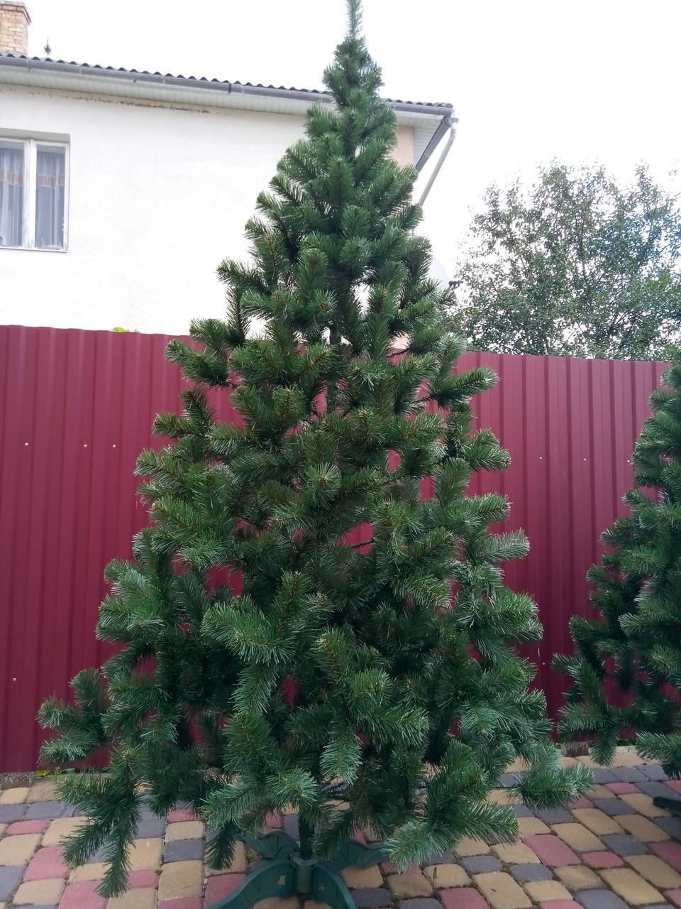 """Елка, ель искусственная зеленая """"Карпатская"""", на Новый год, с подставкой, 200 см"""