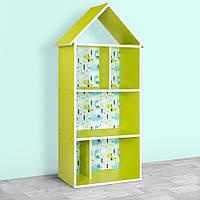 Полочка домик 220-8-2 детский шкафчик стеллаж домик для книг игрушек Динозавр для мальчика салатовый цвет лайм