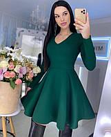 Женское красивое однотонное платье с юбкой солнце клеш, фото 1