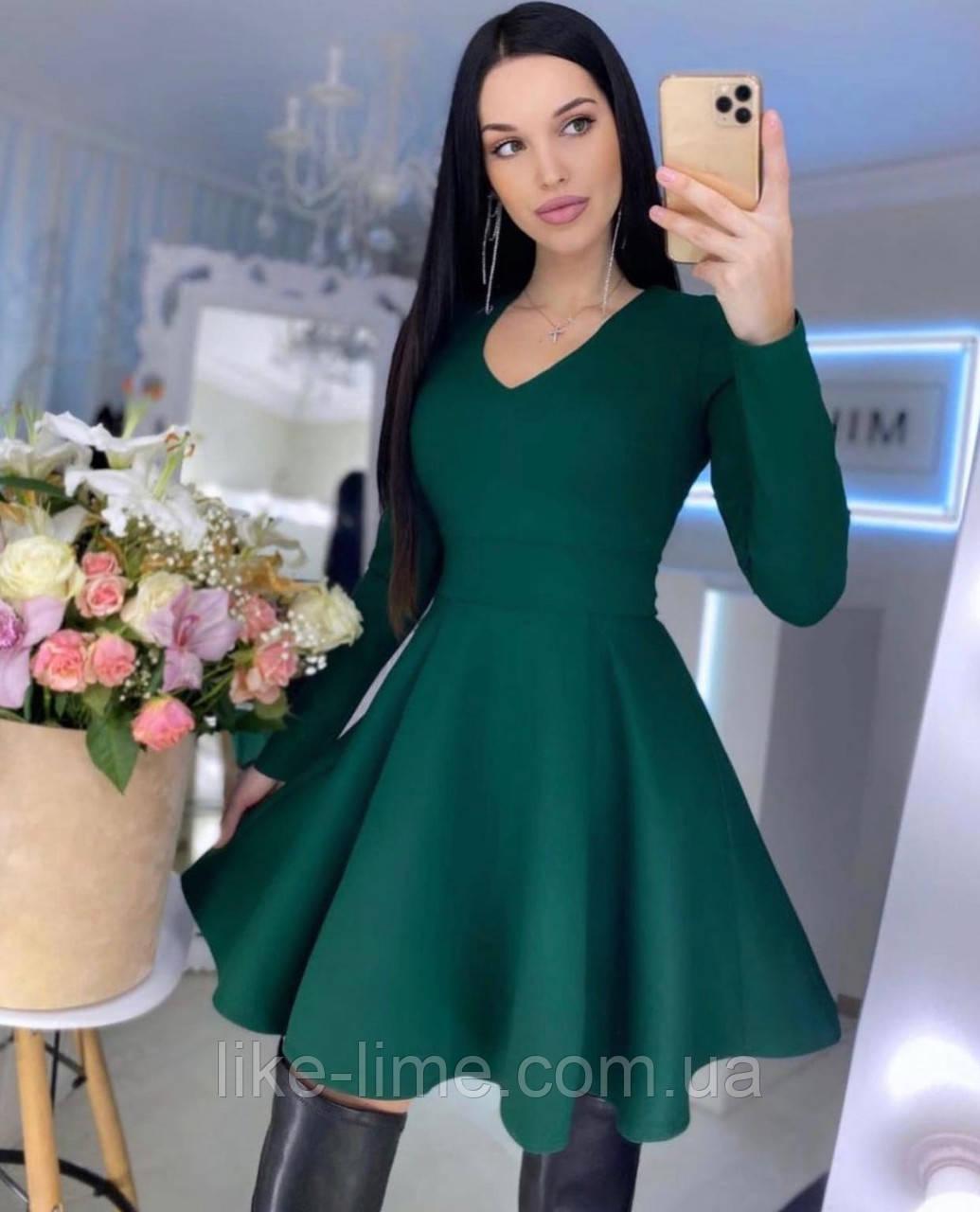 Женское красивое однотонное платье с юбкой солнце клеш