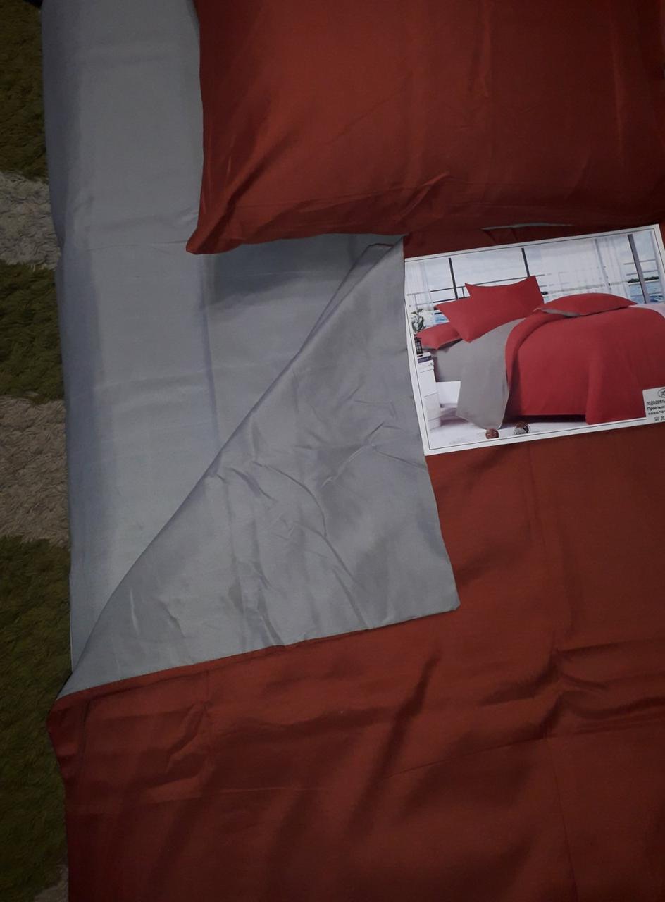Комплект постільної білизни Поплін двосторонній Цегляно - сірий розмір двоспальний