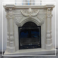 Каминный портал из бежевого мрамора Crema Marfil: цена в Днепре., фото 1