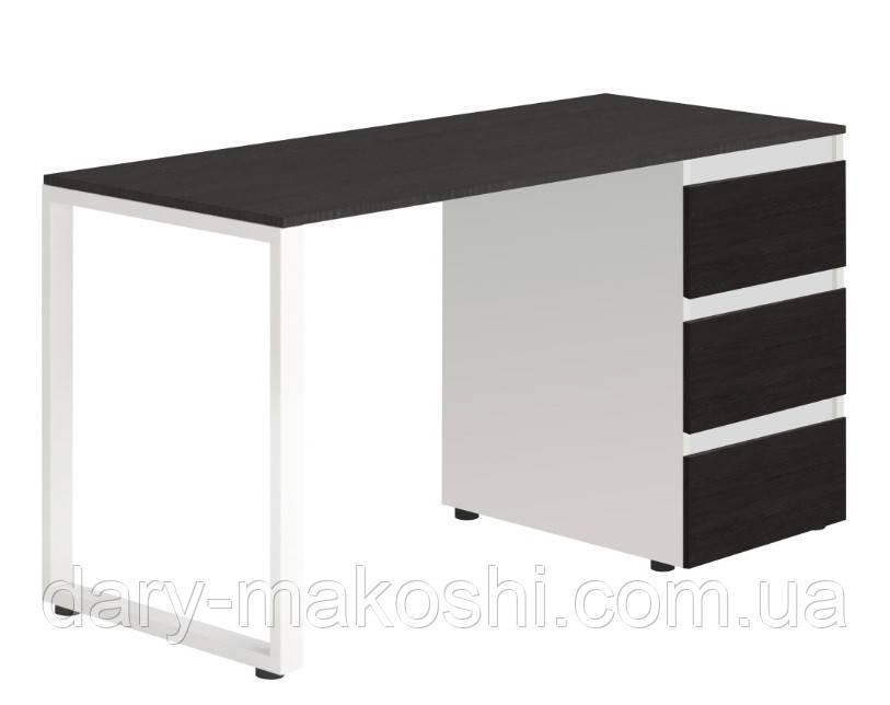 Стол Тавол Loft КС 8.1 со стационарной тумбой металл опоры черные 140смх60смх75см ДСП Венге Белый