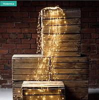 """Свисающая гирлянда новогодняя """"Конский ХВОСТ"""" 10 нитей цвет теплый белый 200 LED Пучок"""