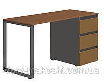 Стол Тавол Loft КС 8.1 со стационарной тумбой металл опоры черные 140смх60смх75см ДСП Черный Орех