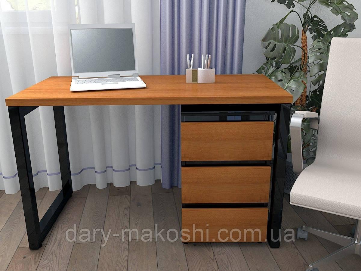 Стол Тавол КС 8.3 с мобильной тумбой металл опоры черные 120смх60смх75см ДСП 32 мм Орех-Черный