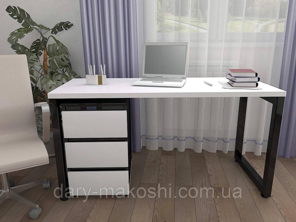 Стол Тавол КС 8.3 с мобильной тумбой металл опоры черные 140смх60смх75см ДСП 32 мм Белый-Черный