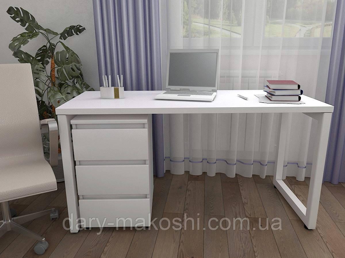 Стол Тавол КС 8.3 с мобильной тумбой металл опоры белые 140смх60смх75см ДСП 32 мм Белый