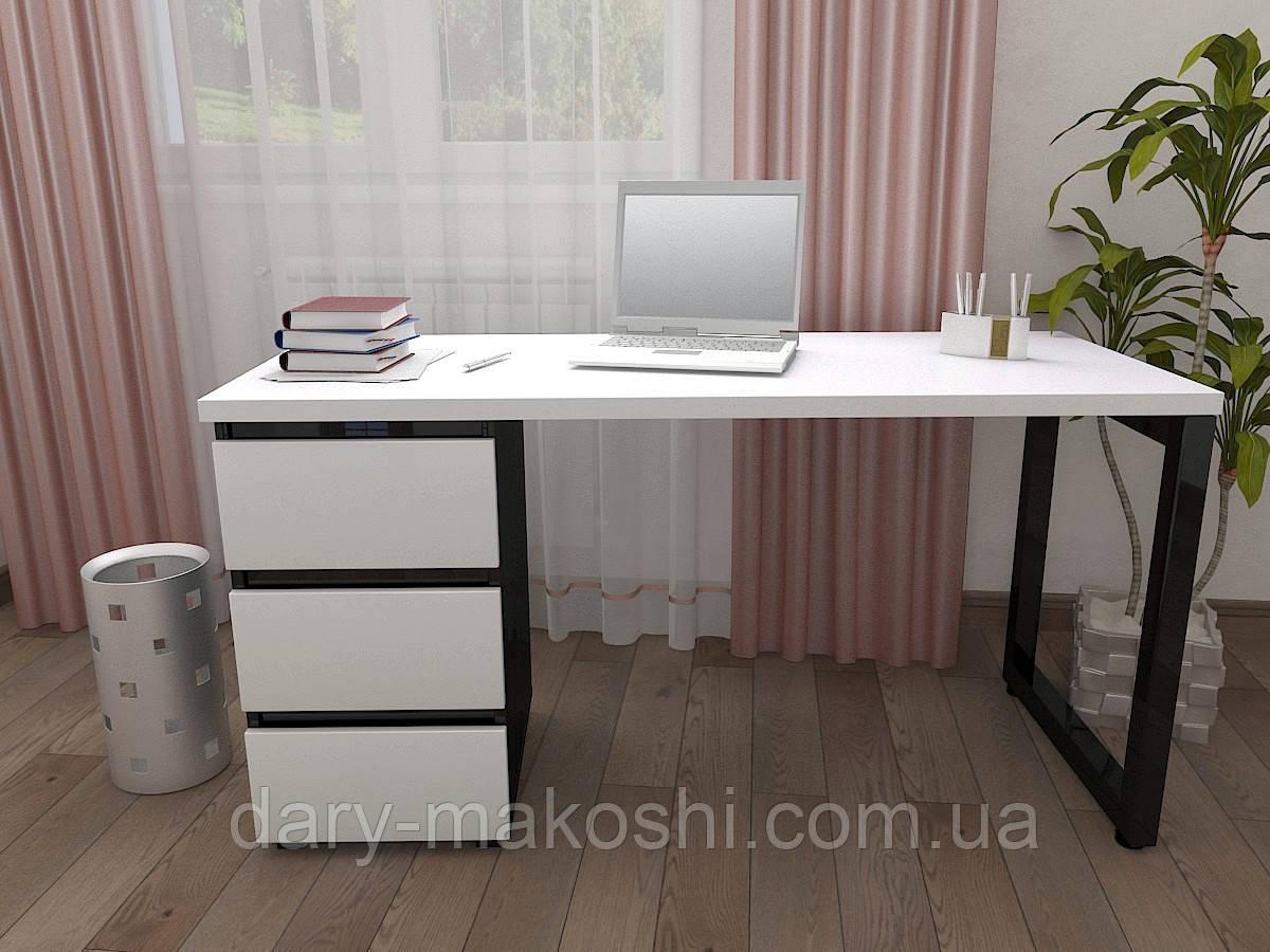 Стол Тавол КС 8.3 со стационарной тумбой металл опора черная 140смх60смх75см ДСП 32 мм Белый-Черный