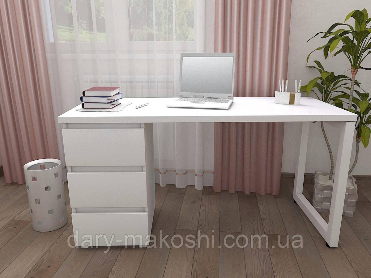 Стол Тавол КС 8.3 со стационарной тумбой металл опора белая 120смх60смх75см ДСП 32 мм Белый