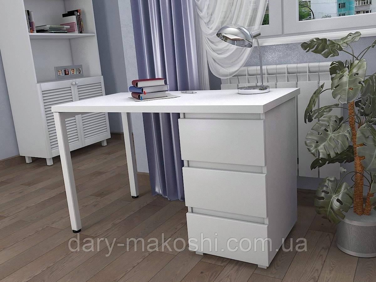 Стол Тавол КС 8.2 со стационарной тумбой металл опора белая 120смх60смх75см ДСП 32 мм Белый