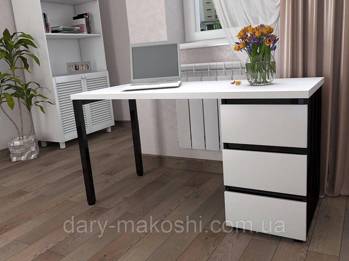 Стол Тавол КС 8.2 со стационарной тумбой металл опора черная 140смх60смх75см ДСП 32 мм Белый/Черный