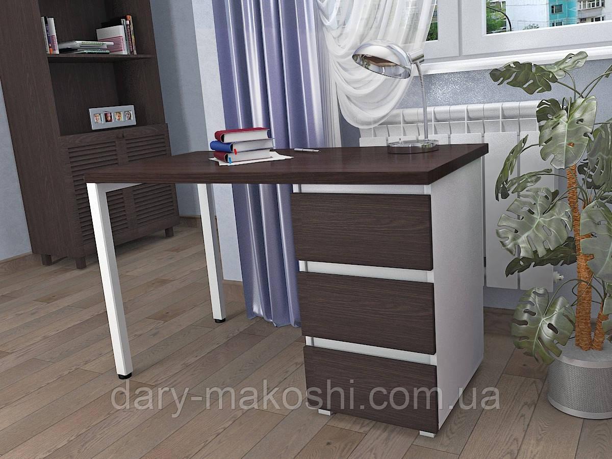 Стол Тавол КС 8.2 со стационарной тумбой металл опора белая 120смх60смх75см ДСП 32 мм Венге/Белый