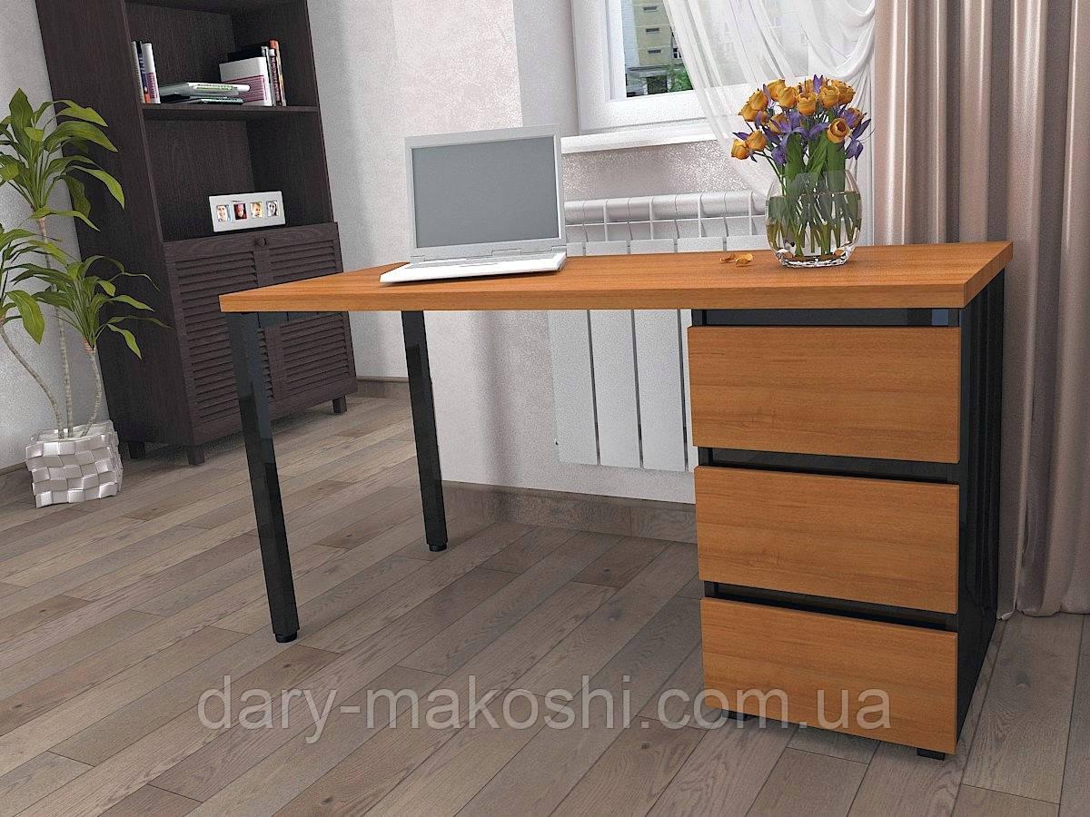 Стол Тавол КС 8.2 со стационарной тумбой металл опора черная 140смх60смх75см ДСП 32 мм Орех/Черный