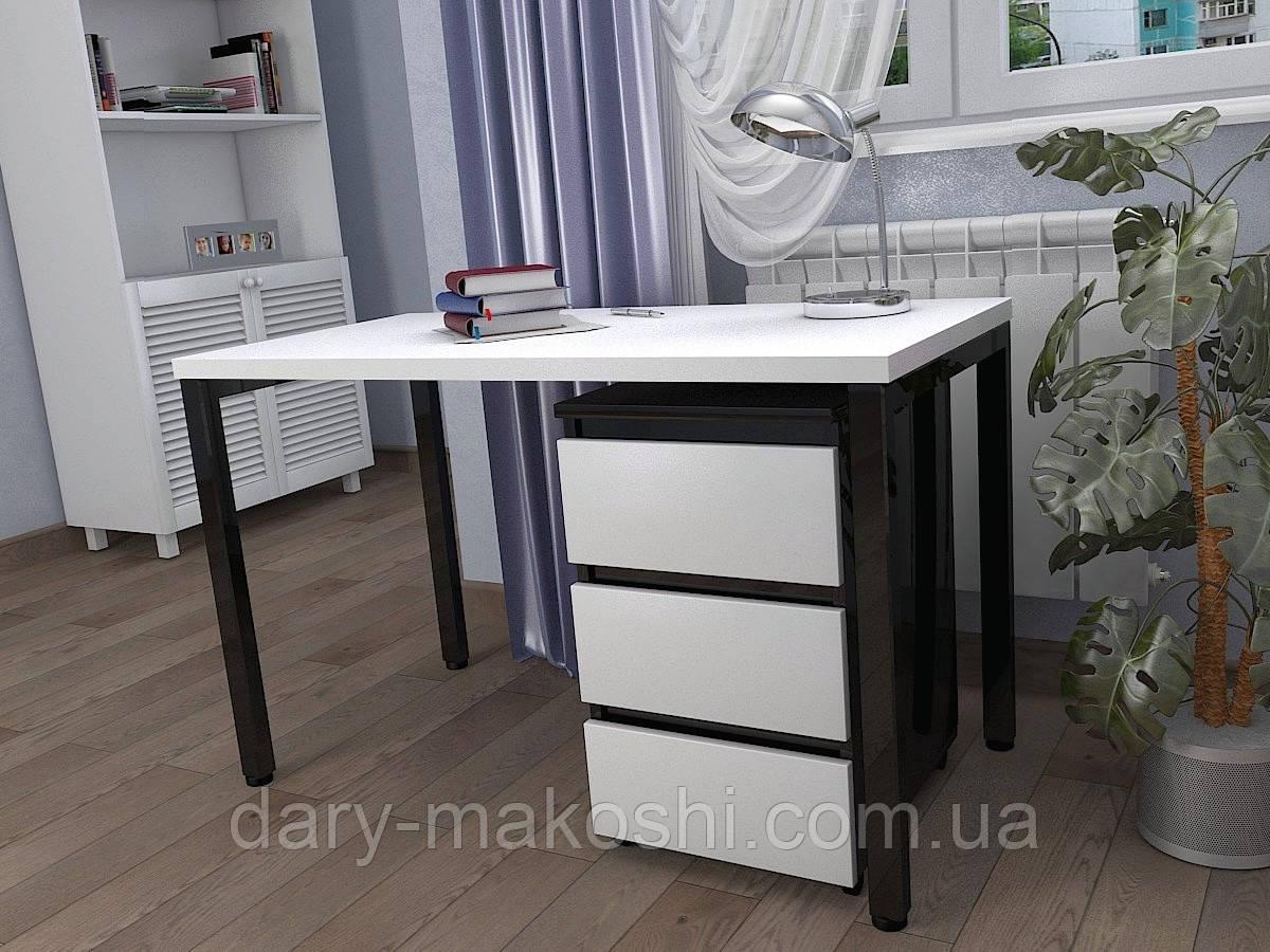 Стол Тавол КС 8.2 с передвижной тумбой металл опоры черные 120смх60смх75см ДСП 32 мм Белый/Черный