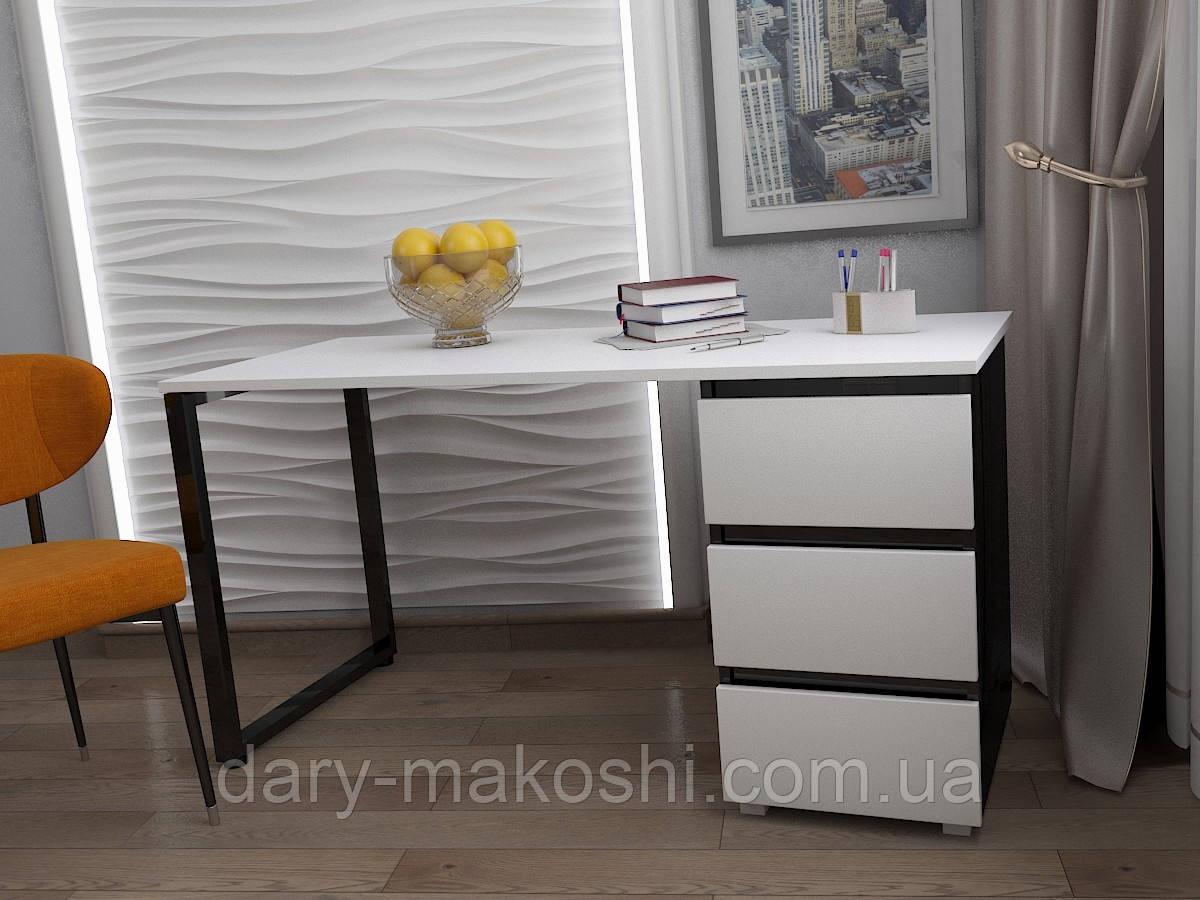 Стол Тавол КС 8.1 со стационарной тумбой металл опора черная 120смх60смх75см ДСП 16 мм Белый/Черный