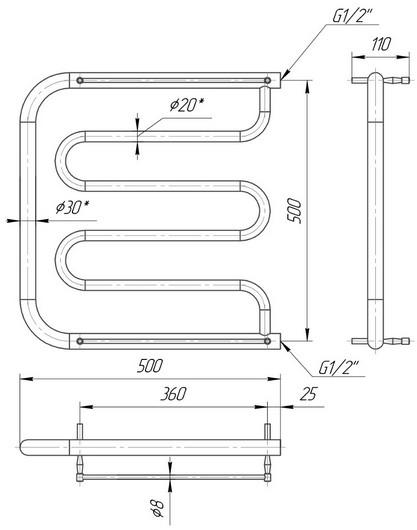 габаритные размеры водяного полотенцесушителя Mario Фокстрот 530x500/500
