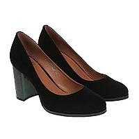 Туфлі жіночі замшеві чорні на стійкому каблуку 36