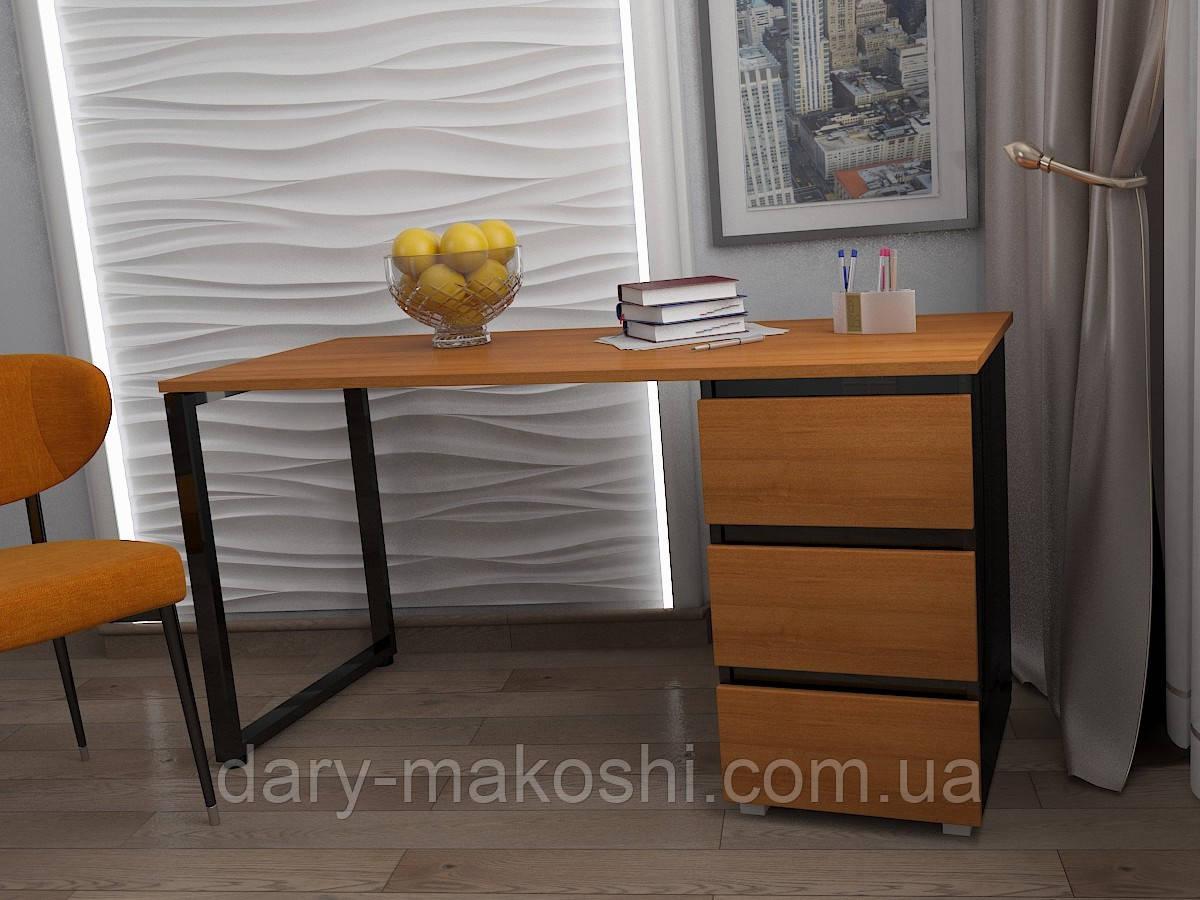 Стол Тавол КС 8.1 со стационарной тумбой металл опора черная 140смх60смх75см ДСП 16 мм Орех/Черный