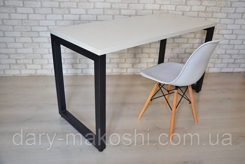 Стол Тавол КС 8.3 металл опоры черные 120смх70смх75см ДСП 32 мм Белый