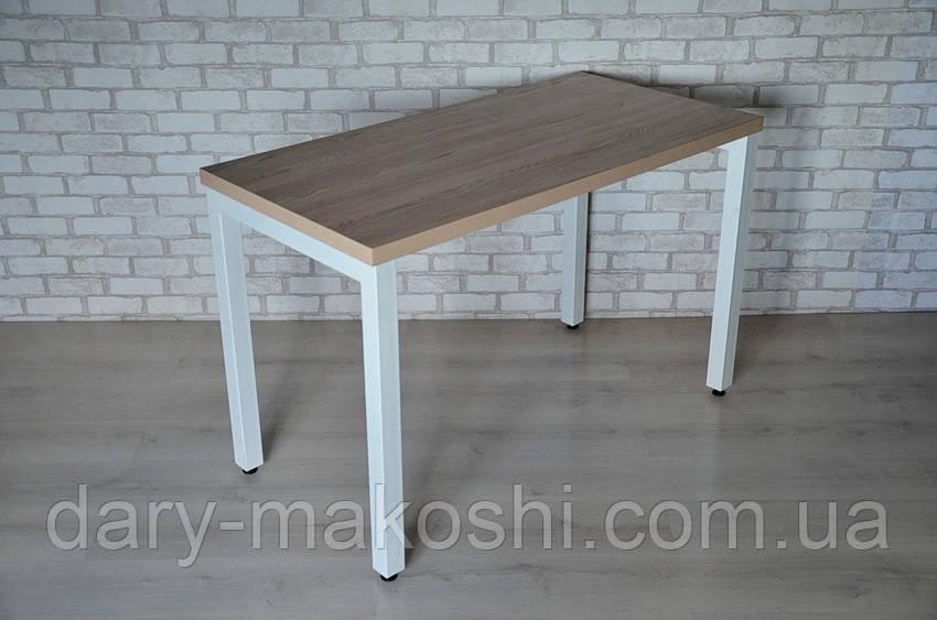 Кухонный стол на металл каркасе Тавол КС 8.2 столешница 32 мм 120смх70см Ясень/Белый