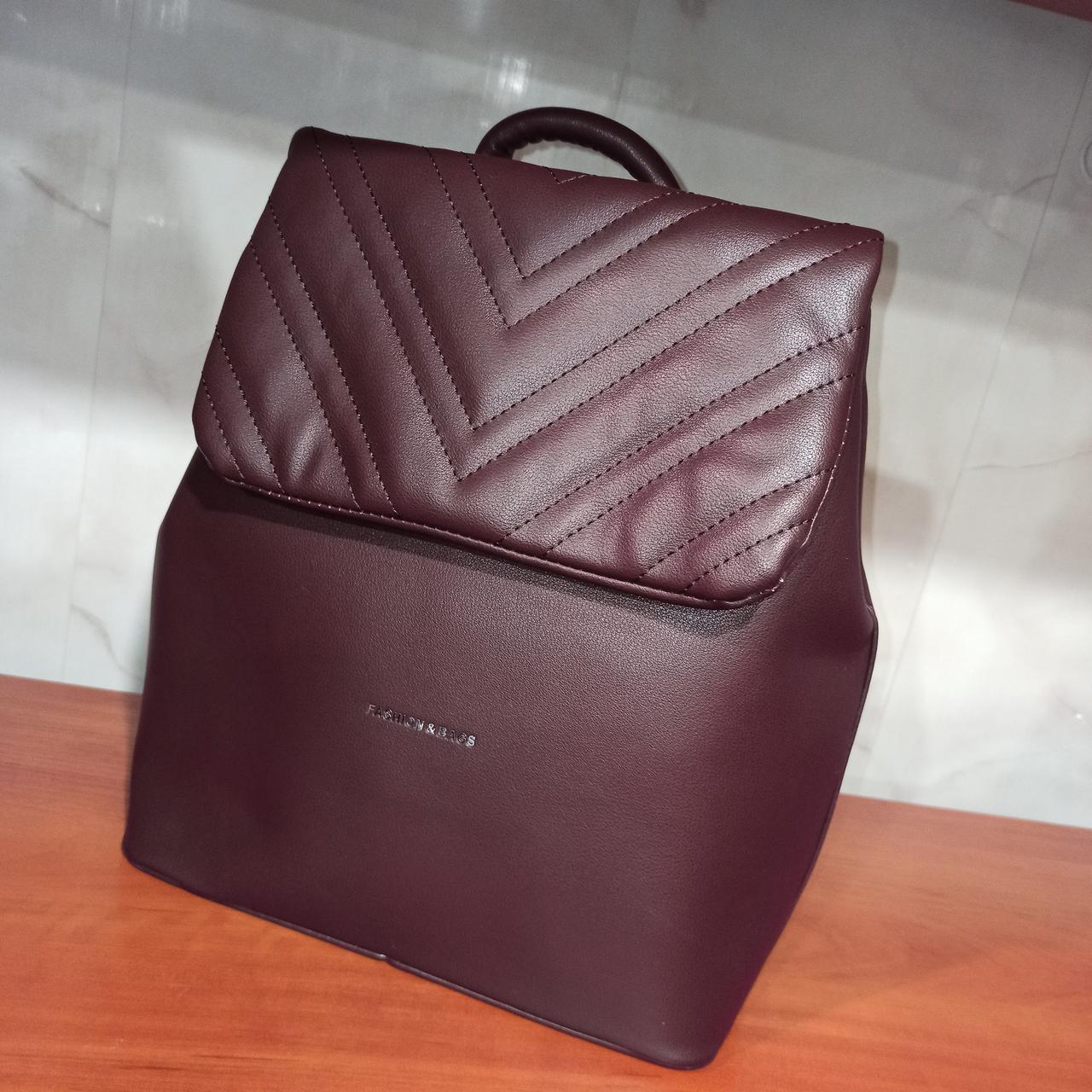 Красивый женский кожаный городской рюкзак. Модель 8818.