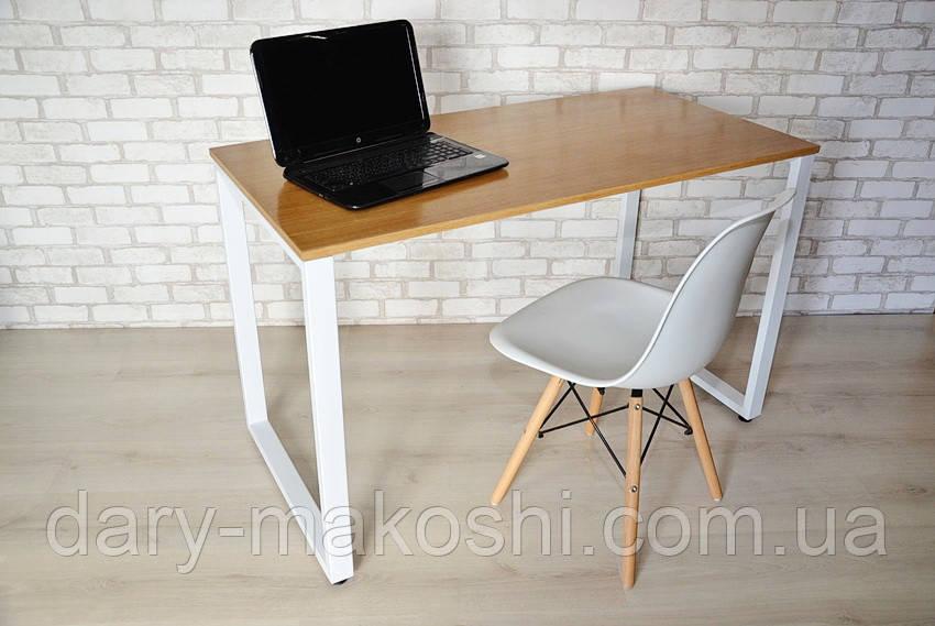 Стол Тавол КС 8.1 металл опоры белые 140смх60смх75см шпон натурального дуба