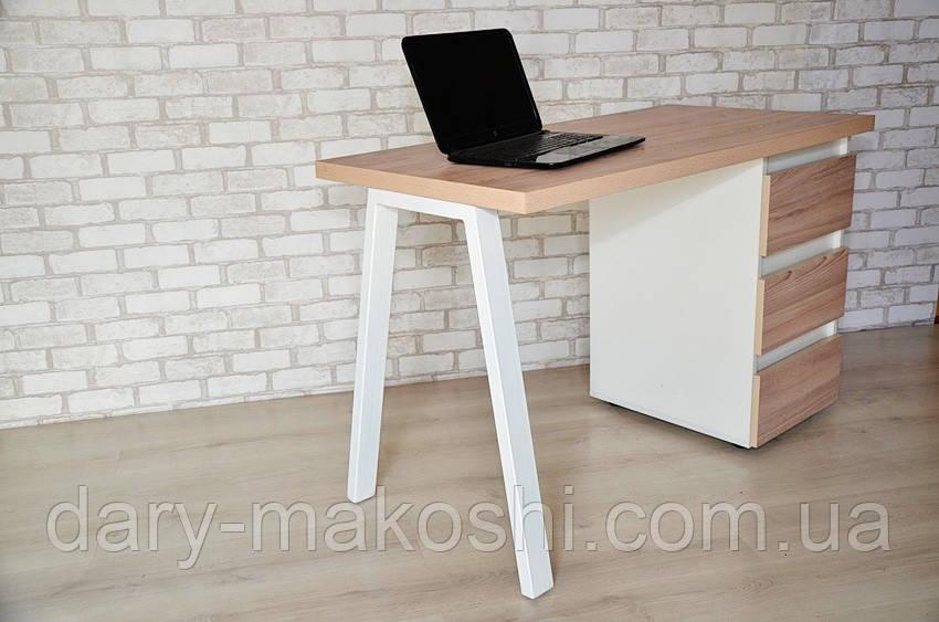 Стол Тавол КС 8.4 со стационарной тумбой металл опора белая 120смх60смх75см ДСП 36 мм Белый/Ясень