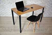 Компьютерный стол Тавол КС 8.5 120 см х 70 см шпон натурального дуба + металл Натуральный/Черный